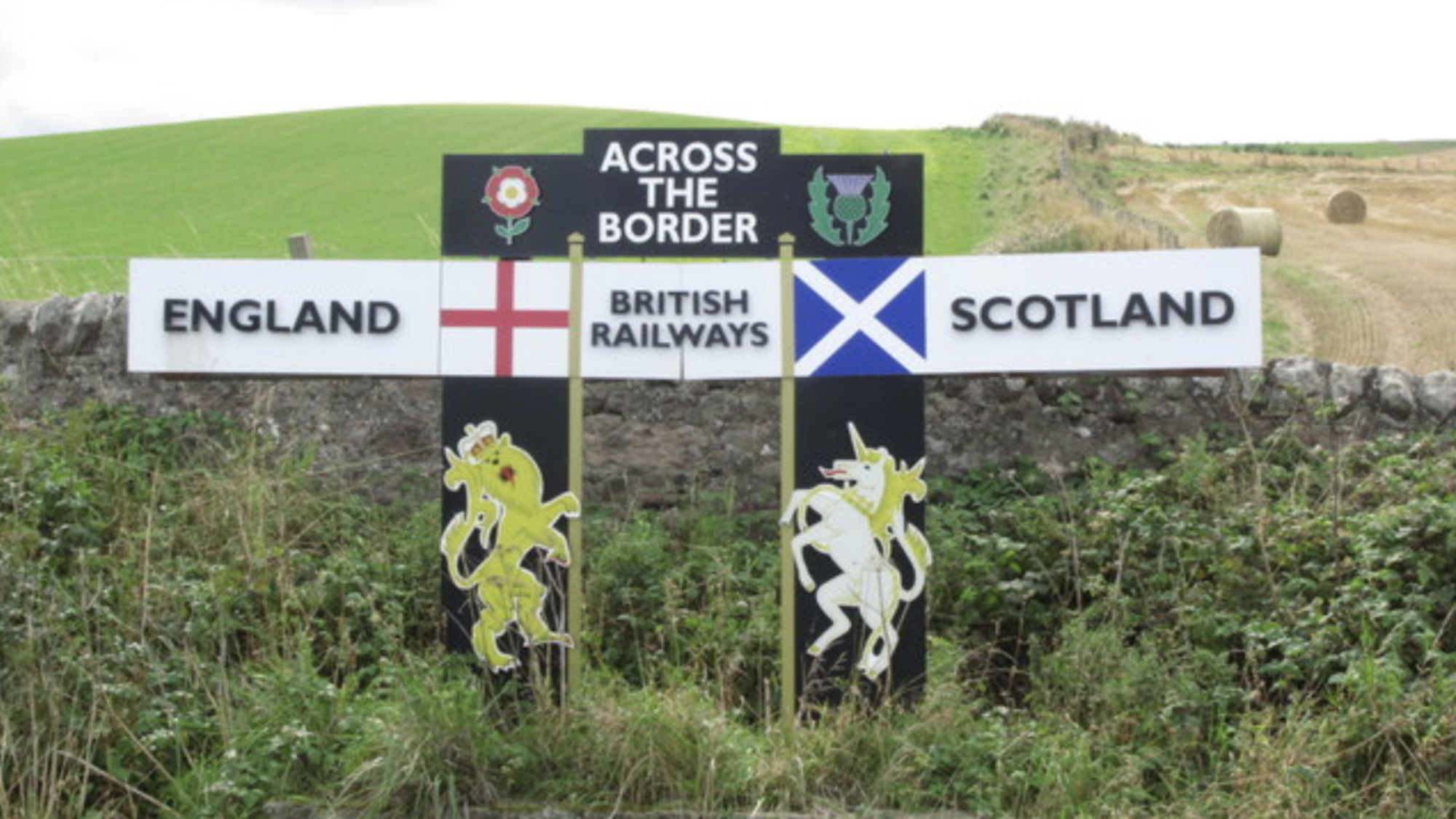 Signpost at the border of England and Scotland.