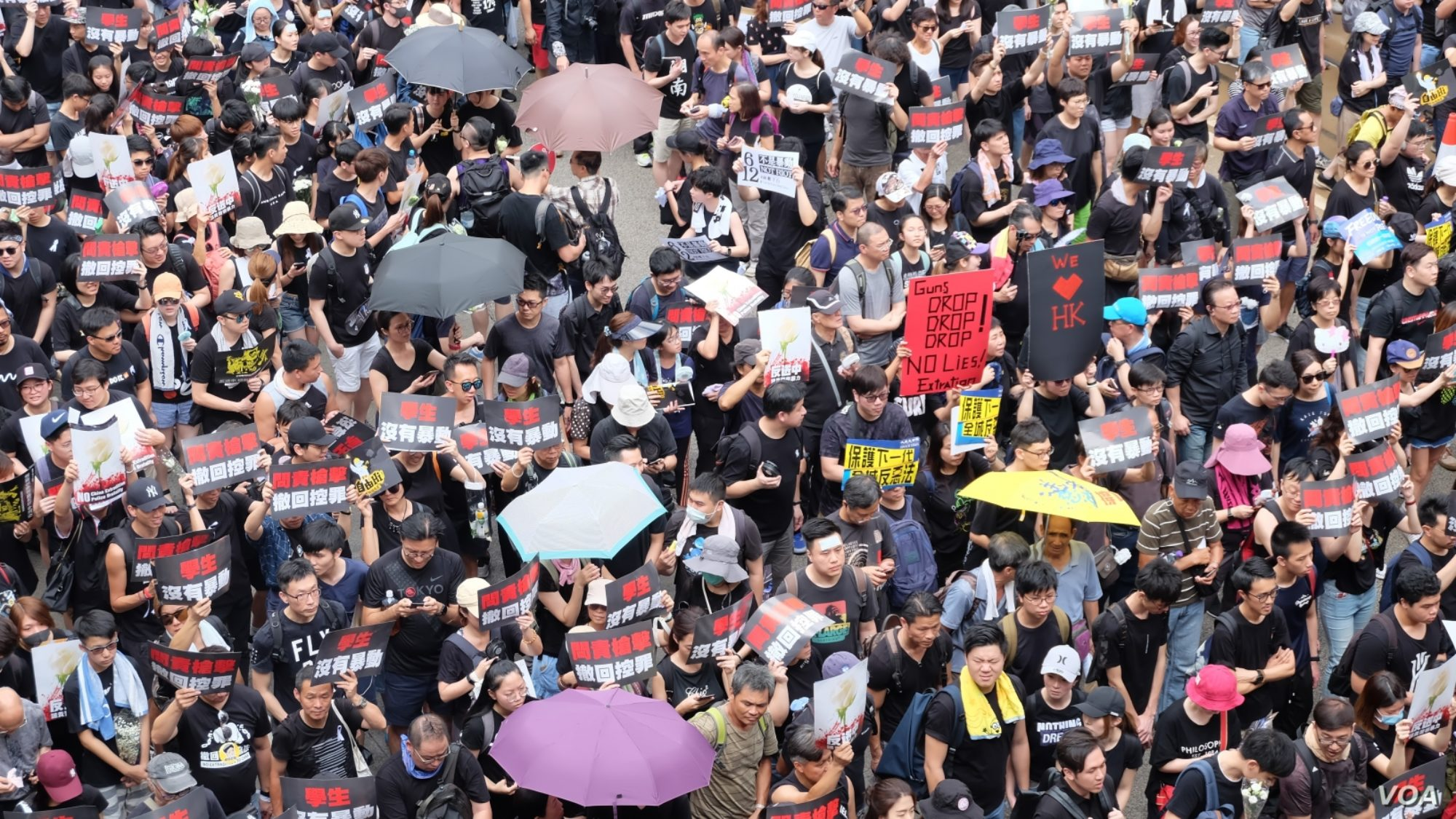 A large crowd of people hold signs calling for the resignation of Hong Kong's leaders.