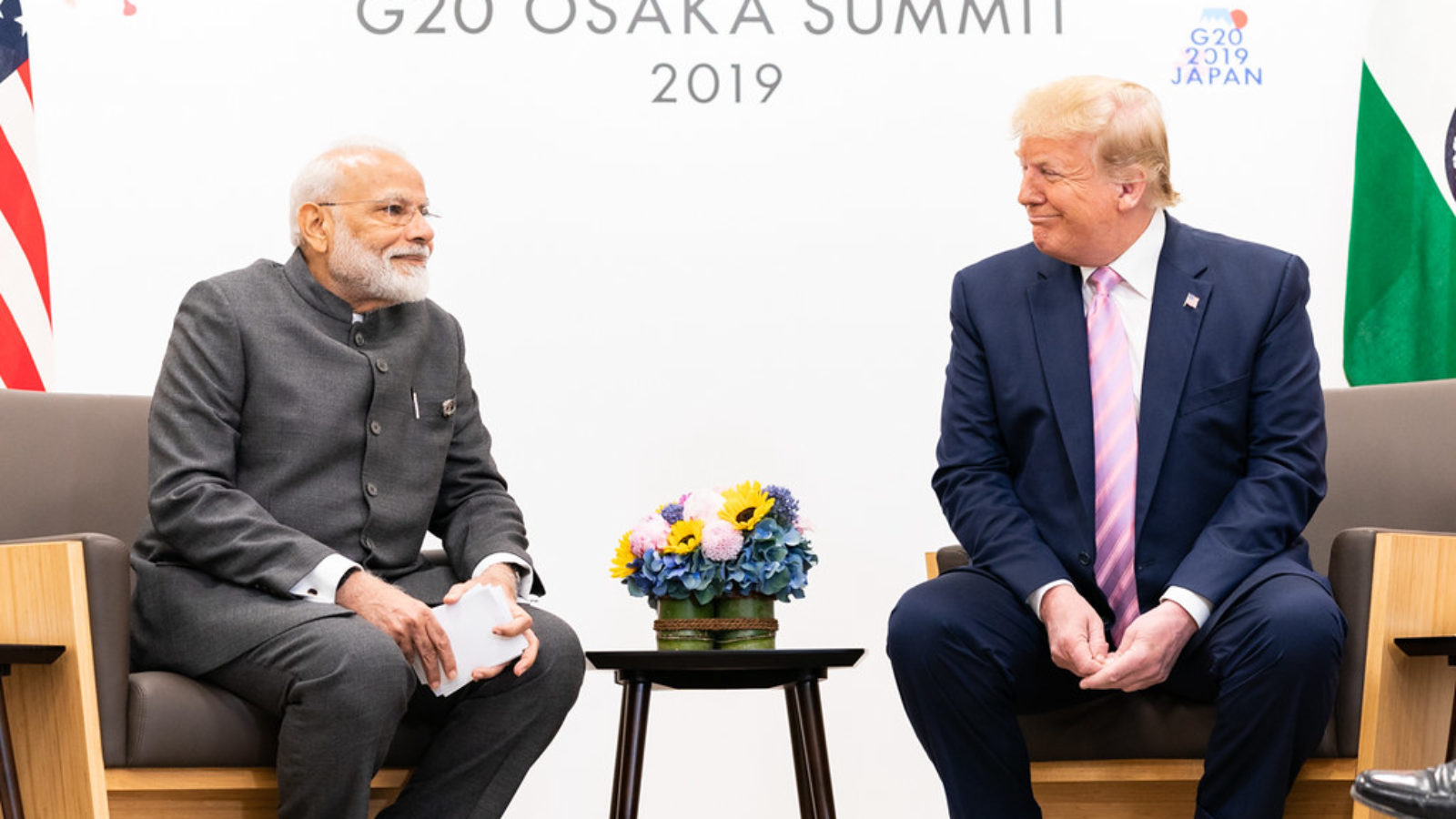 U.S. President Donald Trump and Indian Prime Minister Narendra Modi shake hands at the 2019 G20 Conference in Osaka, Japan