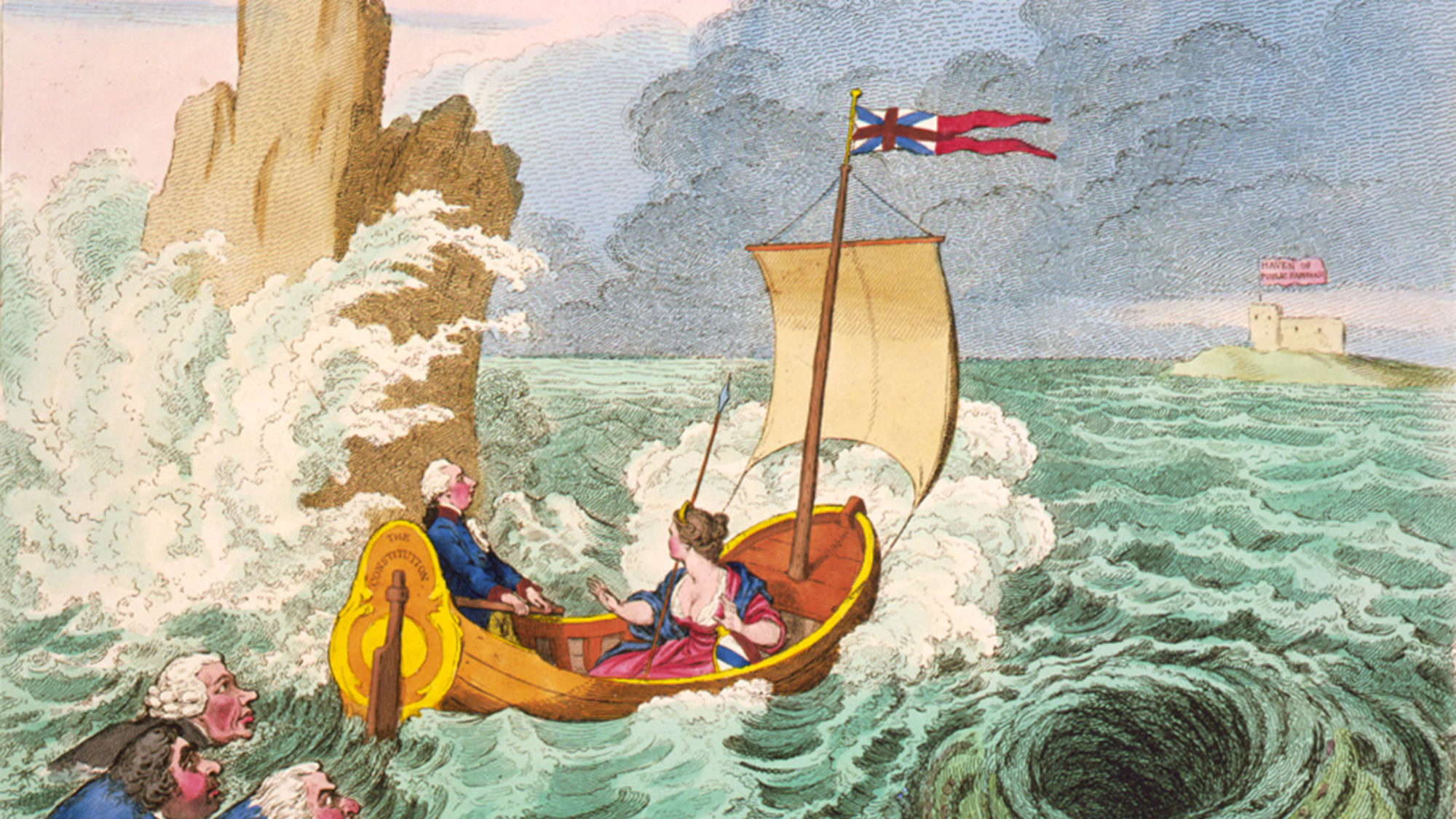 old drawing of man and woman in boat with a British flag