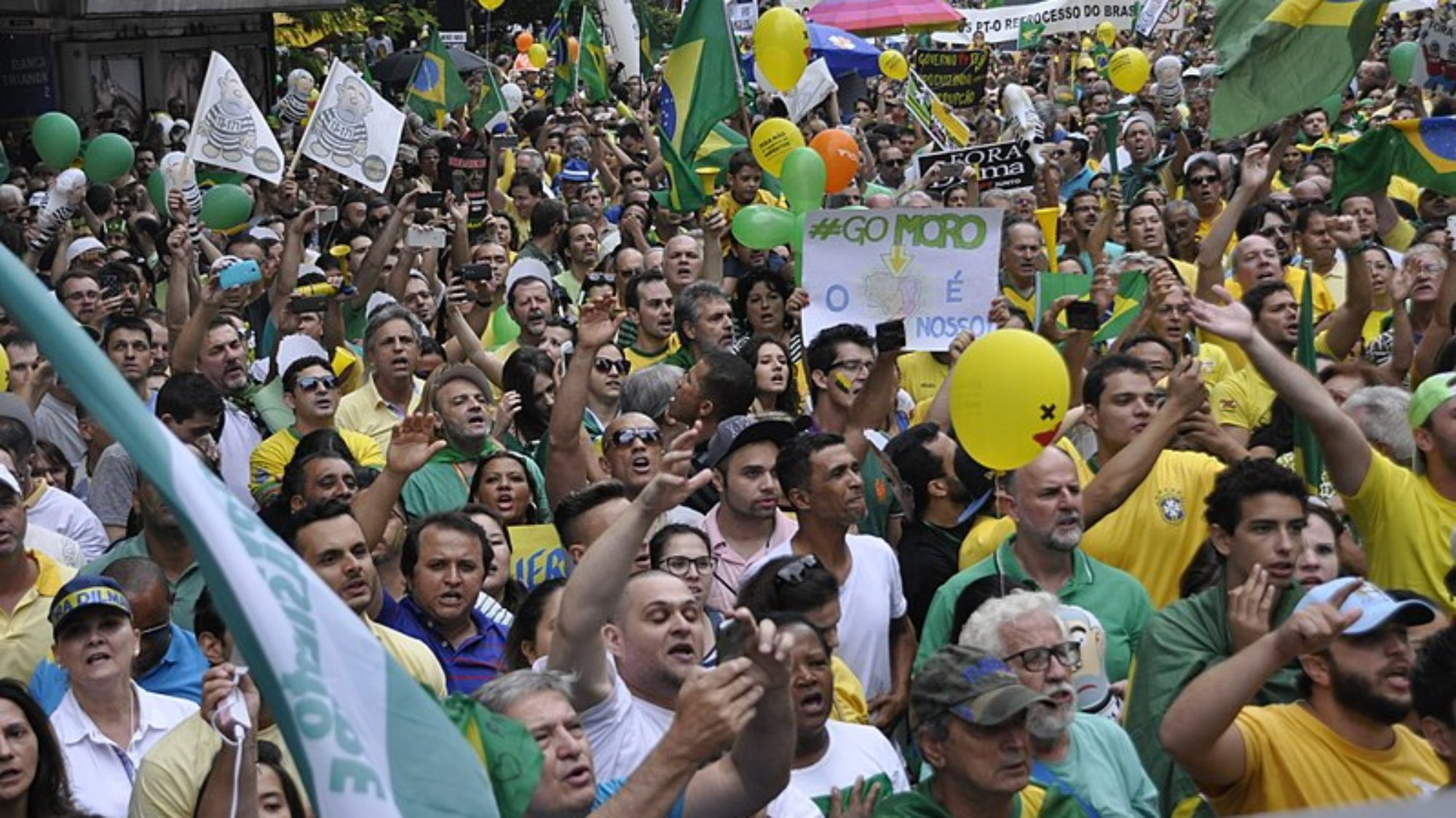 Crowd of Brazilians congregating around the time of the Brazilian president's impeachment