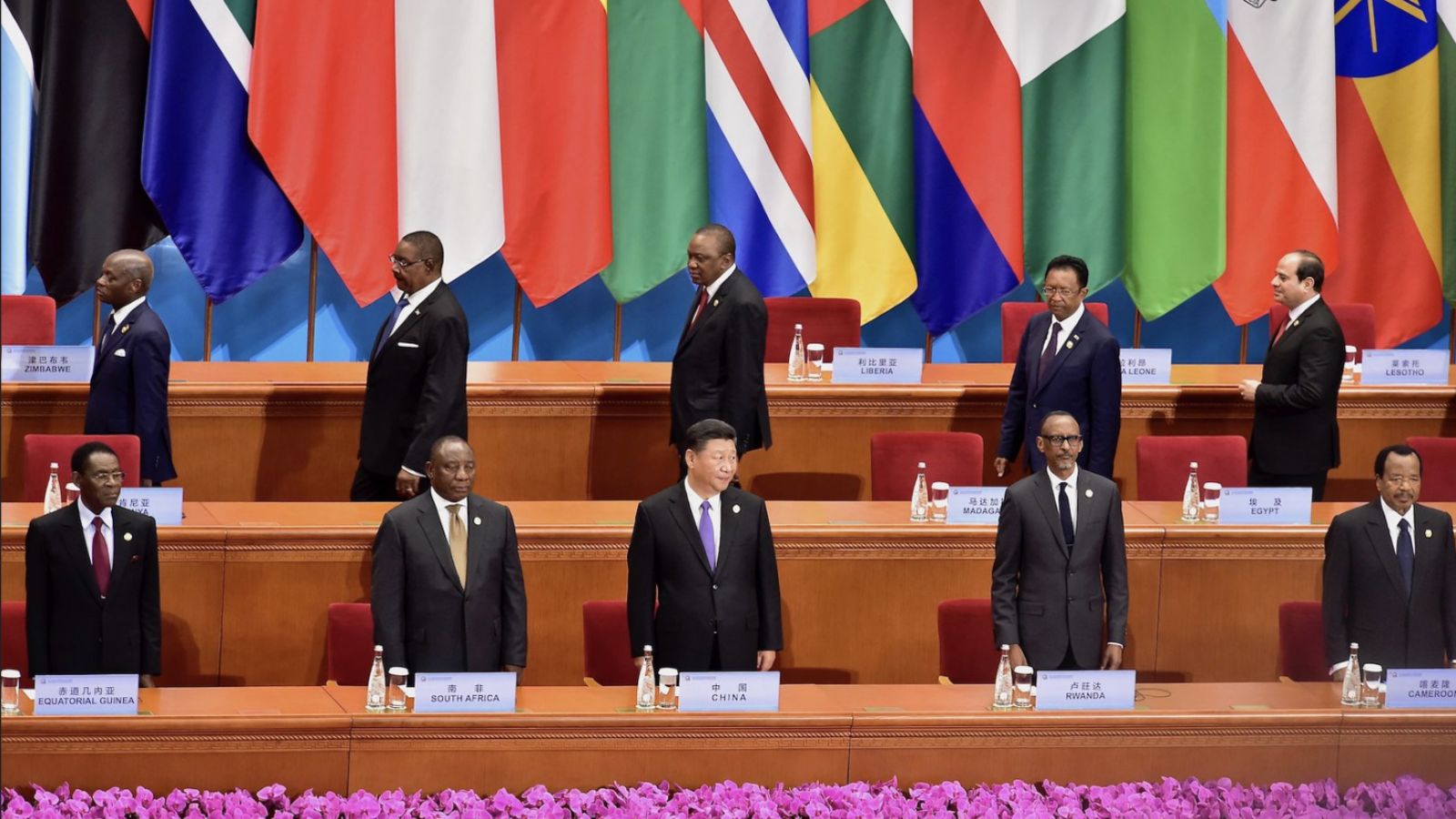 Xi Jinping and African country leaders stand behind rows of chairs, with country flags in the background.