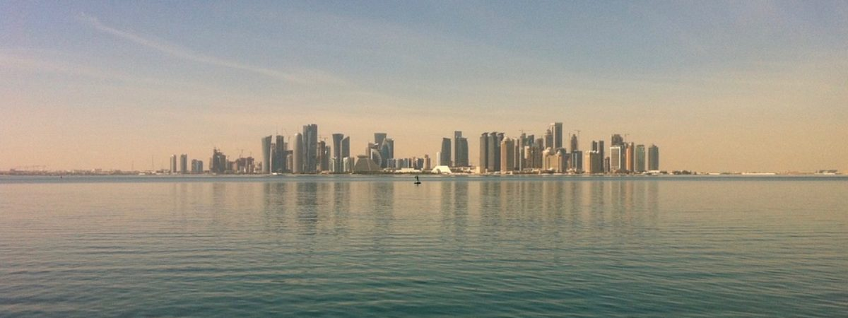 The skyline of Doha, Qatar, taken from the water.