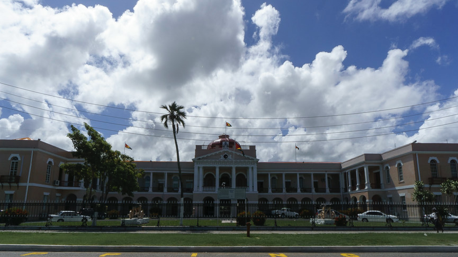 A picture of the front of the national parliament building in Georgetown, Guyana.