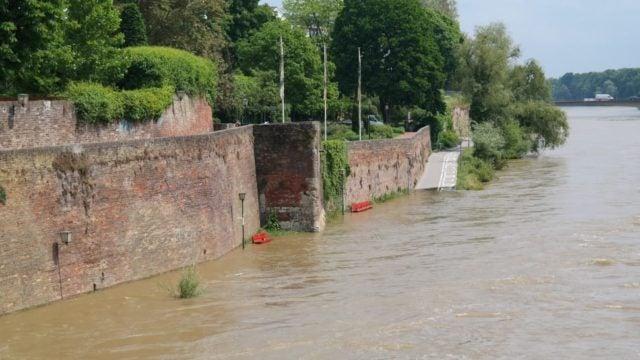 Flooding around brick wall