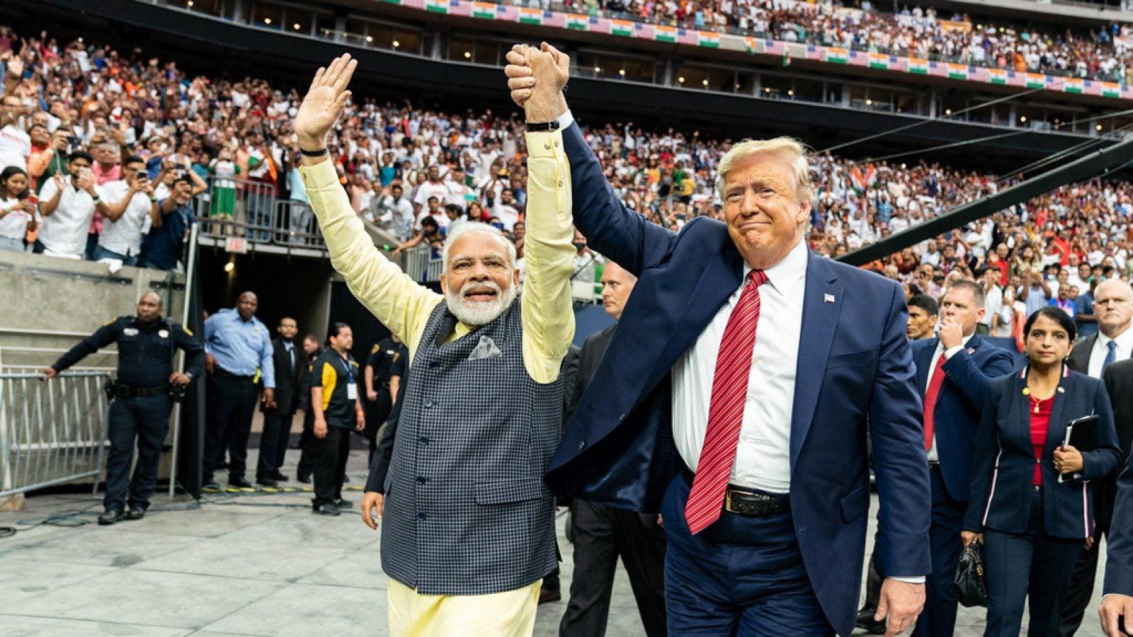 Donald Trump and Narendra Modi at Rally in India