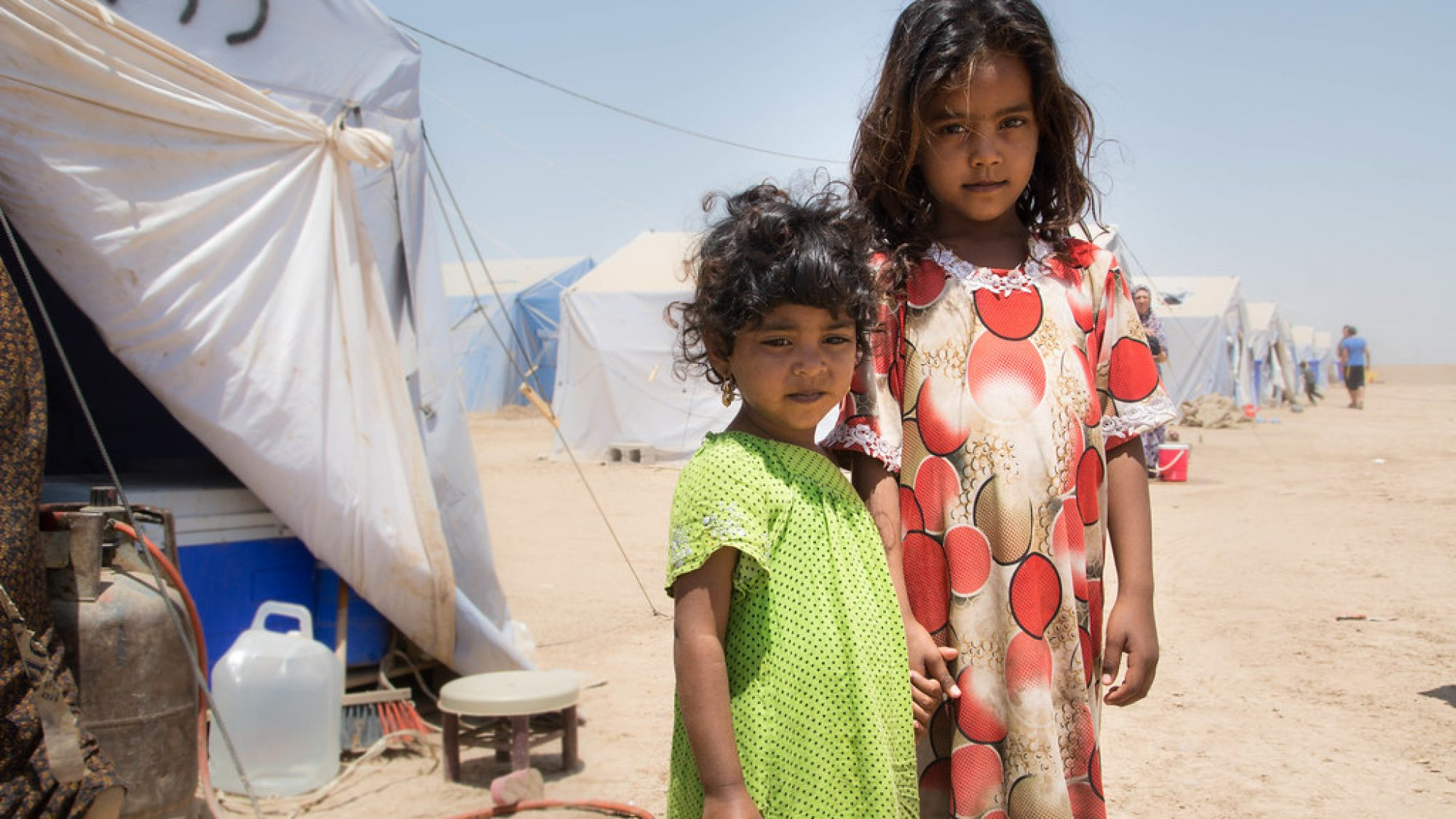 Two Young Girls at Refugee Camp in Iraq