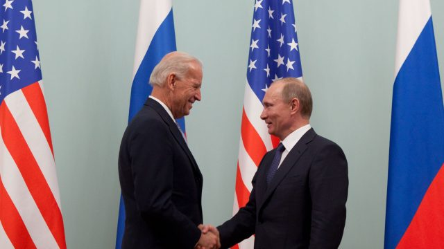 Vice President Joe Biden greets Russian Prime Minister Vladimir Putin at the Russian White House, in Moscow, Russia, March 10, 2011. (Official White House Photo by David Lienemann).