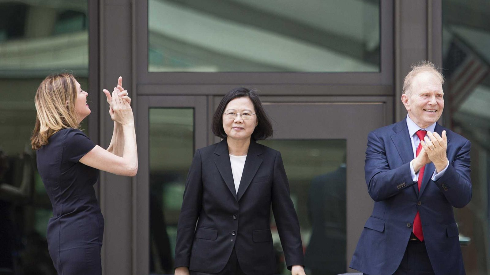 Taiwanese President Tsai Ing-wen, center, at a dedication ceremony for the American Institute in Taiwan's new complex in Taipei, Taiwan, in June 2018