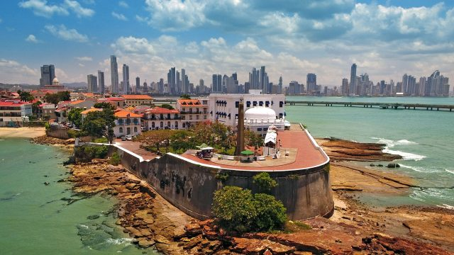 A view of Panama City from the ocean.