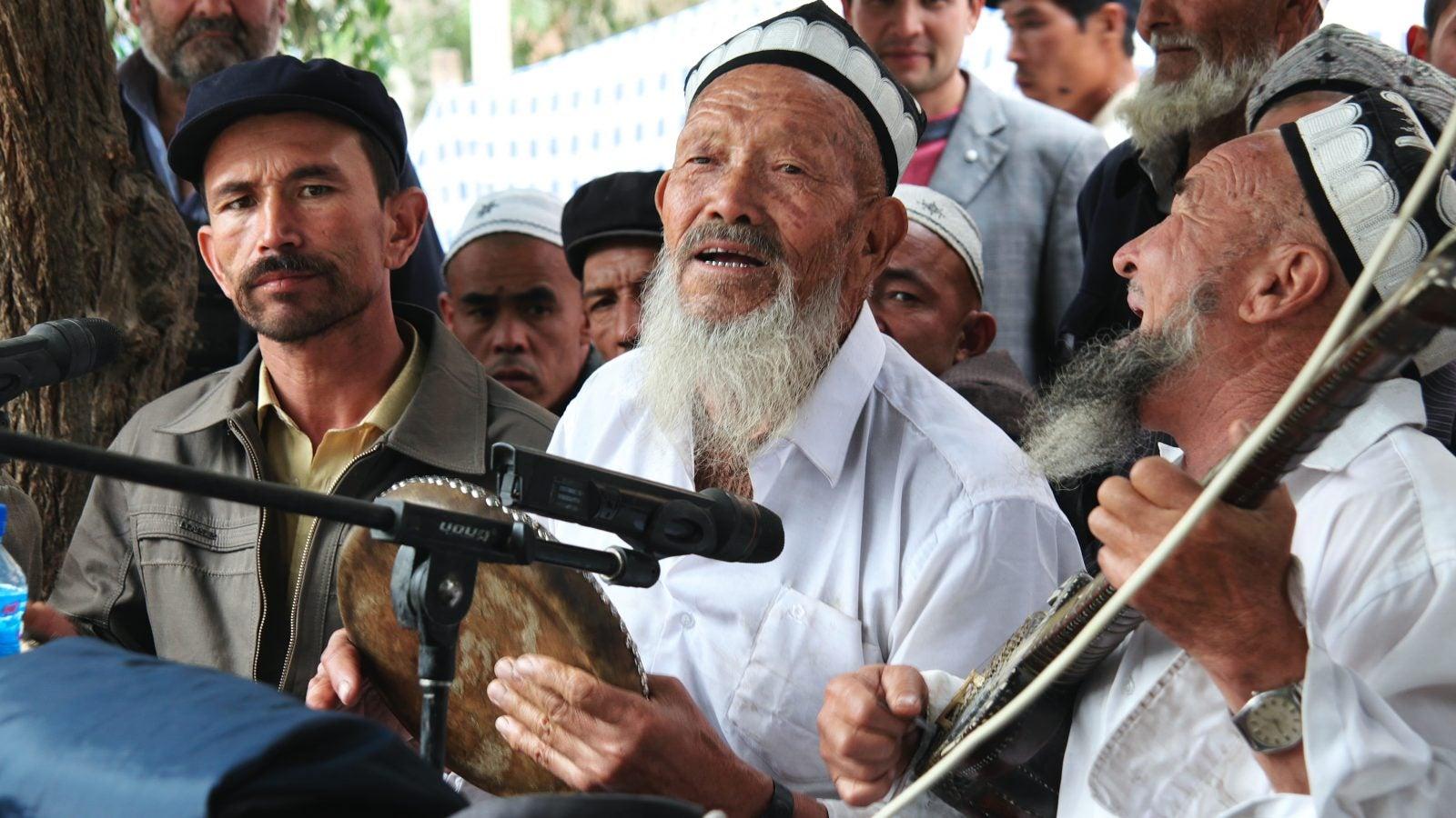 Local Uyghur musicians at Meshrep, Yarkand.
