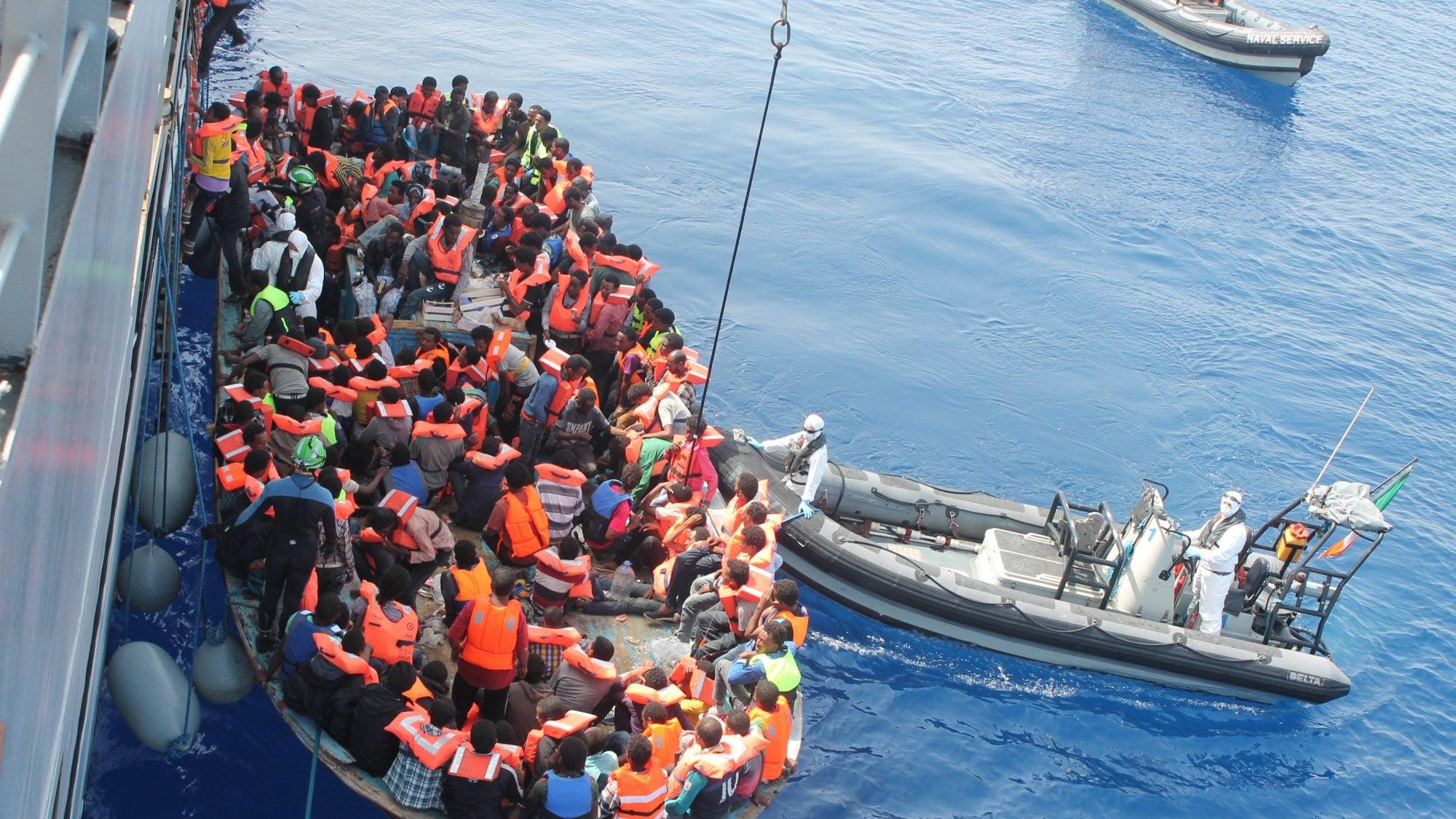 Operation Triton: immigrants on a boat