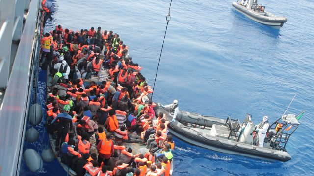 Operation Triton: immigrants on a boat