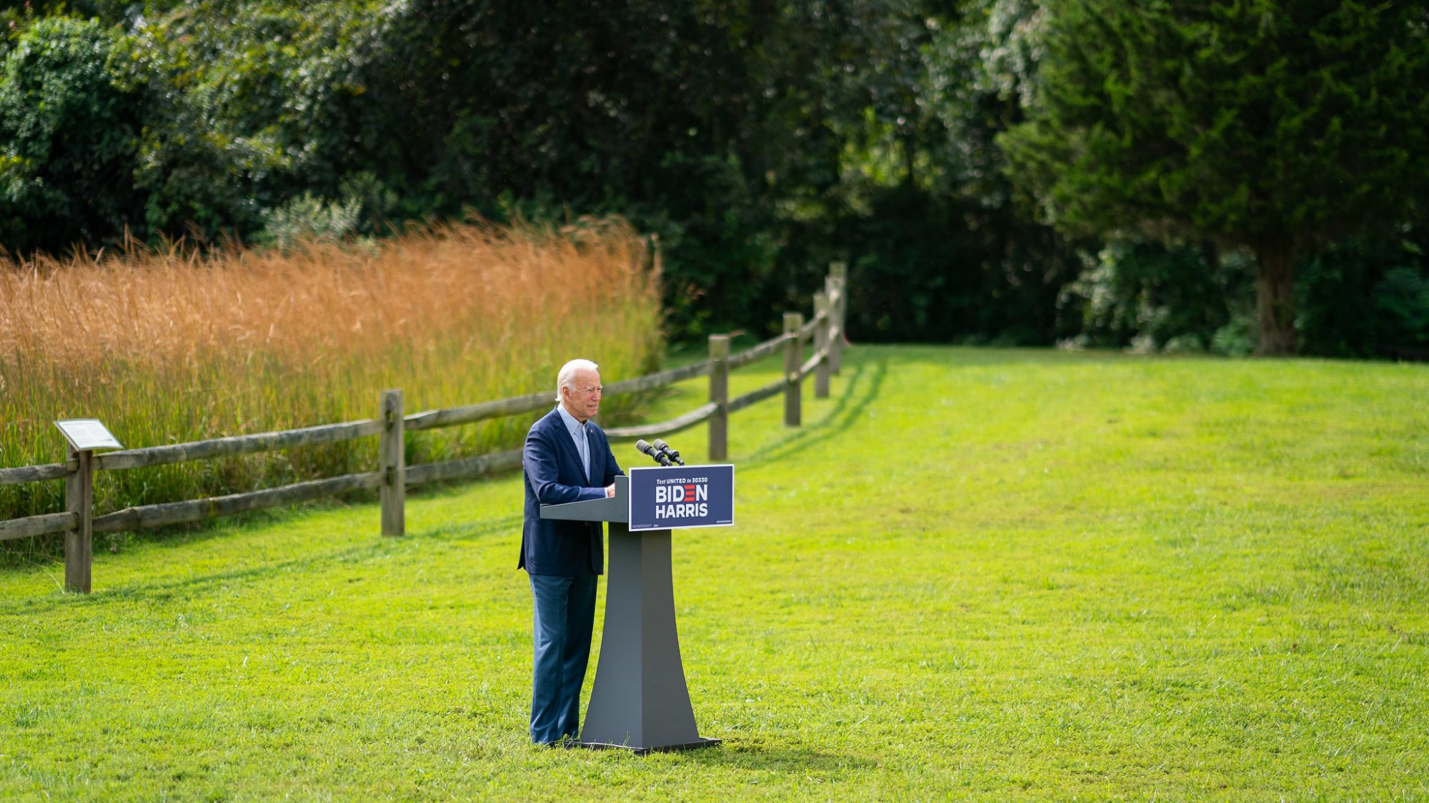 Then-candidate Joe Biden giving a speech on the environment