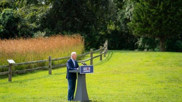 Then-candidate Joe Biden giving a speech on the environment