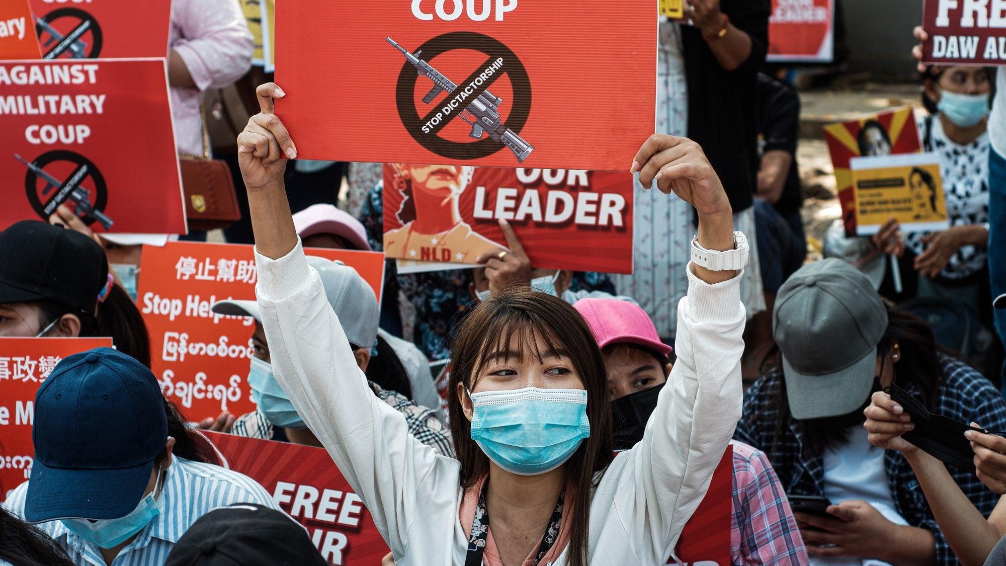 Protester in Myanmar