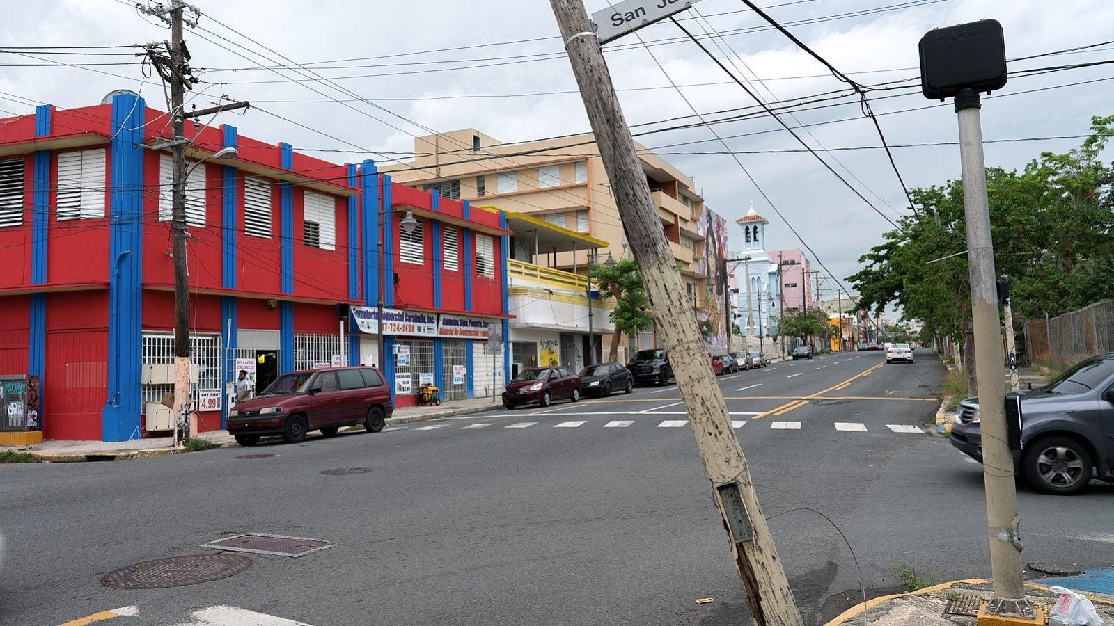 Puerto Rican street after Hurricane Maria