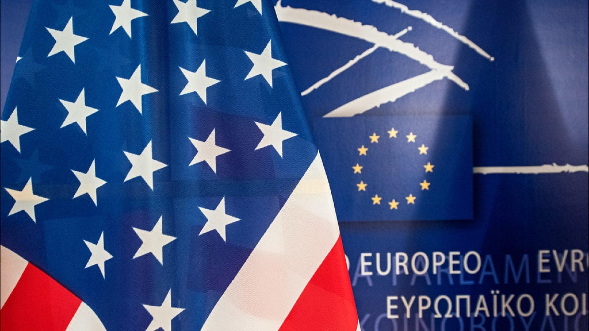 American flag next to European Union background