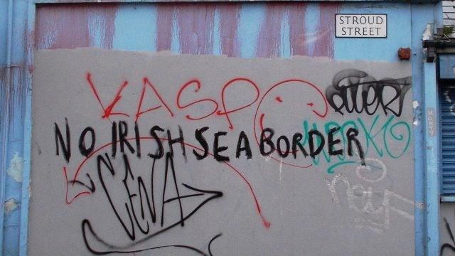 graffiti in belfast - no irish sea border