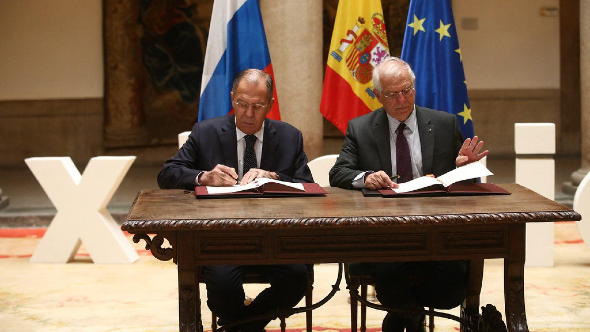 Sergei Lavrov and Josep Borrell Fontelles